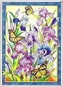 Amia 9787 Iris & Butterfly Glass Panel