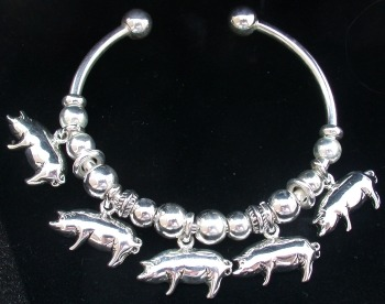 Jewelry - Fashion BRCPigSilver1 5 Pigs on Bracelet