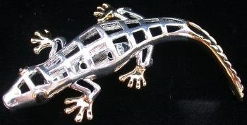 Jewelry - Fashion PINLizardSilver1 Lizard Silver and Gold Tone Pendant Pin