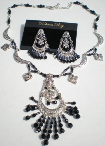 Jewelry - Fashion SETRaySilverBlack1 Chain 20 in Necklace and Earrings