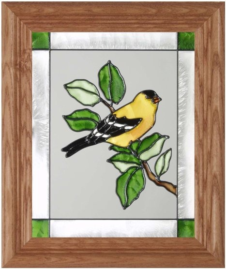 Silver Creek Art Glass A006 Goldfinch Vertical Panel