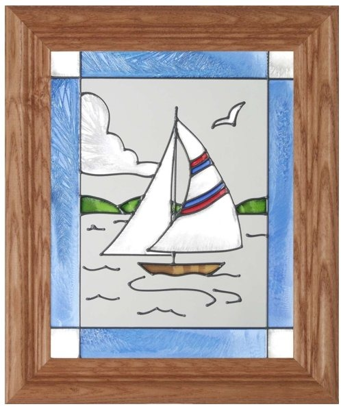 Artistic Gifts Art Glass A012 Sailboat Panel
