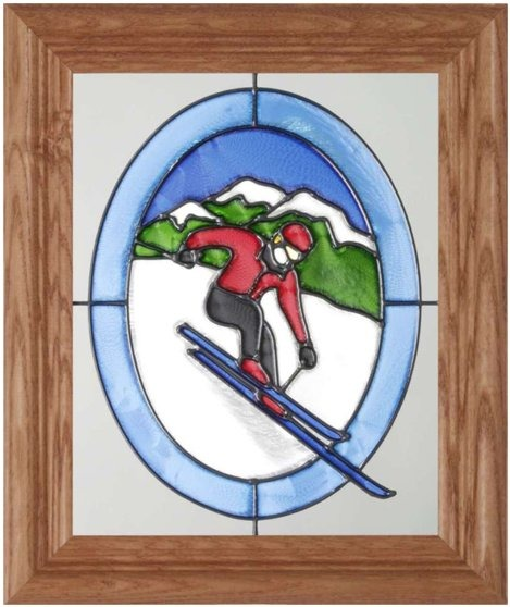 Artistic Gifts Art Glass A015 Skier on Mountain Red Jacket Vertical Panel