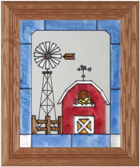 Artistic Gifts Art Glass A026 Windmill & Red Barn Vertical Panel