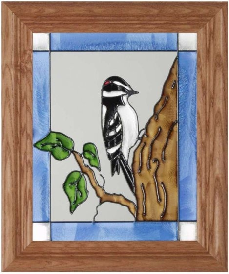 Silver Creek Art Glass A046 Woodpecker Downy Vertical Panel
