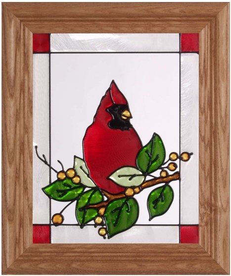 Silver Creek Art Glass A047 Cardinal & Berries Vertical Panel