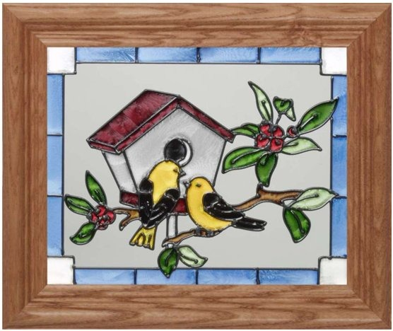 Silver Creek Art Glass A063 Finches & Birdhouse Horizontal Panel