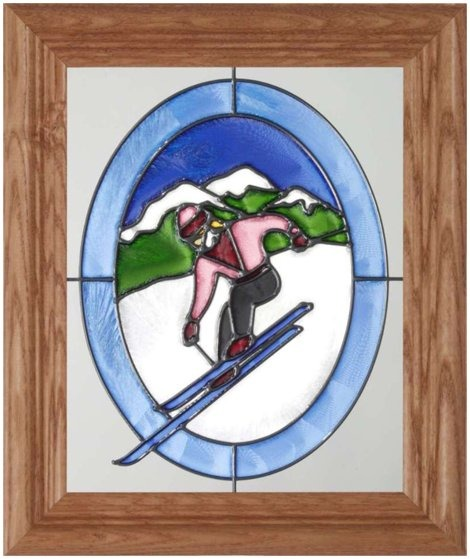 Artistic Gifts Art Glass A115 Skier on Mountin Pink Jacket Oval Vertical Panel