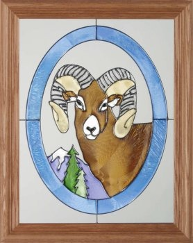 Artistic Gifts Art Glass B017 Big Horn Sheep in Oval Vertical Panel