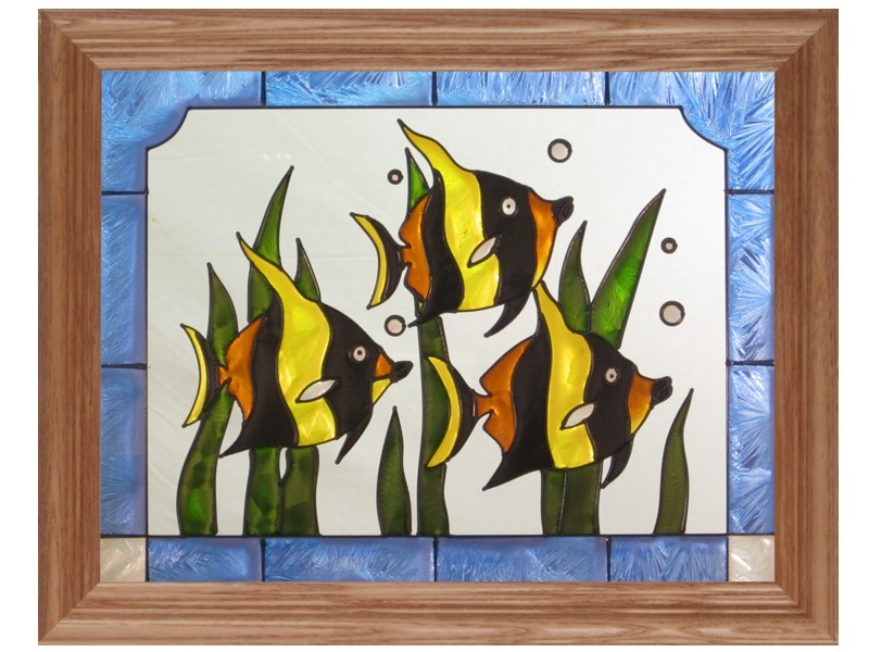Artistic Gifts Art Glass B041 Tropical Fish Panel Glass Made in the USA $55.99