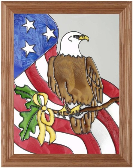 Artistic Gifts Art Glass B042 Patriotic Eagle Vertical Panel