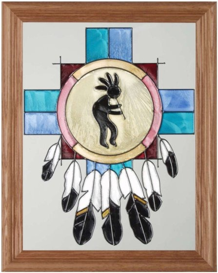 Artistic Gifts Art Glass B068 Native American Vertical Panel