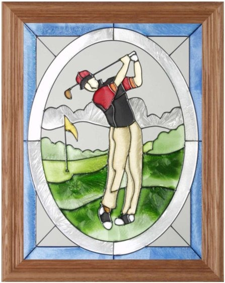 Artistic Gifts Art Glass B083 Golfer Man Vertical Panel