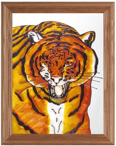 Artistic Gifts Art Glass B132 Tiger Panel