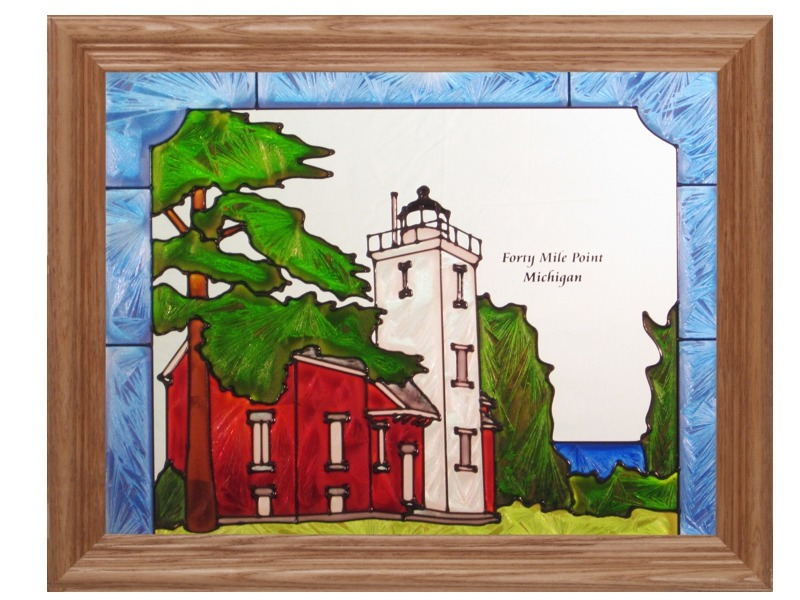 Artistic Gifts Art Glass B244 MI Forty Mile Point Panel