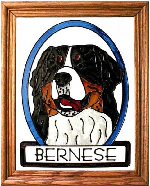 Artistic Gifts Art Glass BW247 Bernese Mountain Dog Panel
