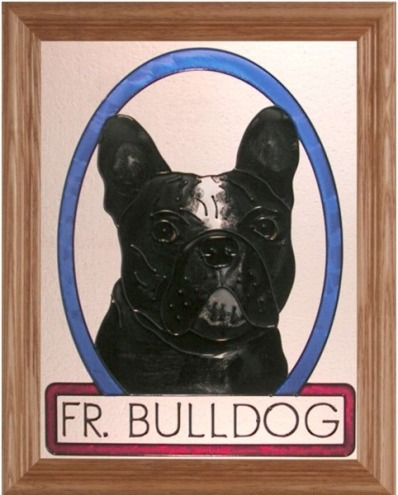 Artistic Gifts Art Glass BW292 French Bulldog Panel