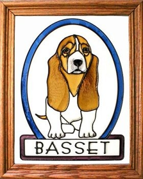 Artistic Gifts Art Glass BW098 Basset Hound Vertical Panel Glass Made in the USA $55.99