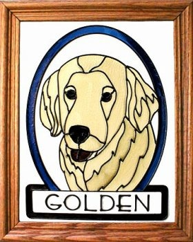 Artistic Gifts Art Glass BW104 Golden Retriever I Vertical Panel