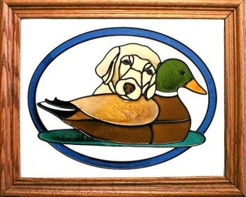 Artistic Gifts Art Glass BW115Y Labrador with decoy Vertical Panel Glass Made in the USA $55.99