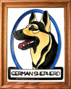 Artistic Gifts Art Glass BW118 German Shepherd Vertical Panel