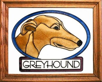 Artistic Gifts Art Glass BW121 Greyhound I Vertical Panel Glass Made in the USA $55.99