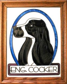 Artistic Gifts Art Glass BW124 Cocker Spaniel Eng Vertical Panel