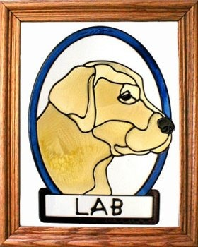 Artistic Gifts Art Glass BW131Y Labrador - Yellow Vertical Panel