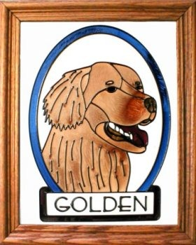 Artistic Gifts Art Glass BW140RED Golden Retriever Red Vertical Panel