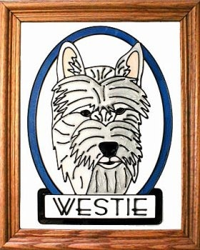 Artistic Gifts Art Glass BW143 Westie I Vertical Panel Glass Made in the USA $55.99