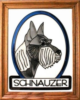Artistic Gifts Art Glass BW144C Schnauzer cropped Vertical Panel