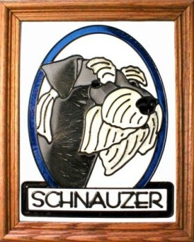 Artistic Gifts Art Glass BW144N Schnauzer natural Vertical Panel