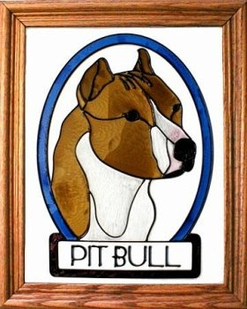 Artistic Gifts Art Glass BW145 Pit Bull cropped Vertical Panel Glass Made in the USA $55.99