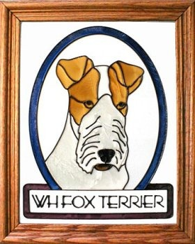 Artistic Gifts Art Glass BW154 Fox Terrier Wire haired Vertical Panel Glass Made in the USA $55.99
