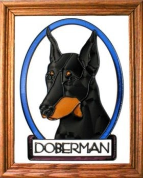 Silver Creek Art Glass BW155 Doberman cropped Vertical Panel