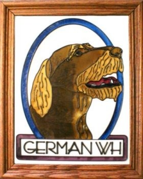 Artistic Gifts Art Glass BW156 German WH Pointer Vertical Panel Glass Made in the USA $55.99