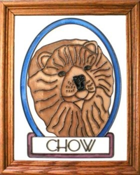 Artistic Gifts Art Glass BW158 Chow Vertical Panel