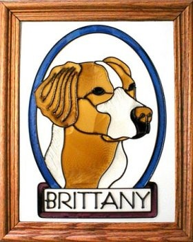 Artistic Gifts Art Glass BW161 Brittany Spaniel Vertical Panel