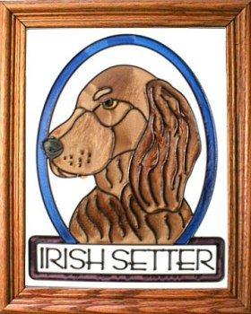 Artistic Gifts Art Glass BW164 Irish Setter Vertical Panel