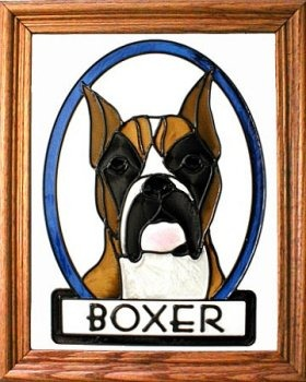 Artistic Gifts Art Glass BW166C Boxer with cropped ears Vertical Panel