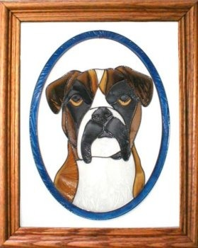Artistic Gifts Art Glass BW166X Boxer natural circle Vertical Panel Glass Made in the USA $55.99