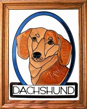 Artistic Gifts Art Glass BW170 Dachshund Short Hair Vertical Panel