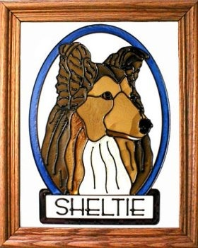 Artistic Gifts Art Glass BW171 Sheltie Vertical Panel Glass Made in the USA $55.99