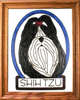 Artistic Gifts Art Glass BW173 Shih Tzu Vertical Panel Glass Made in the USA $55.99