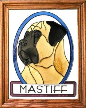 Artistic Gifts Art Glass BW177 Mastiff Vertical Panel Glass Made in the USA $55.99