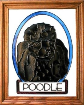 Artistic Gifts Art Glass BW181B Poodle Black Vertical Panel