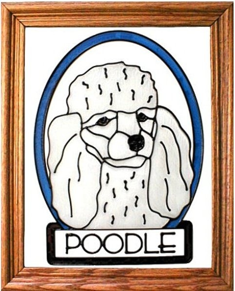 Artistic Gifts Art Glass BW181W Poodle - white Vertical Panel