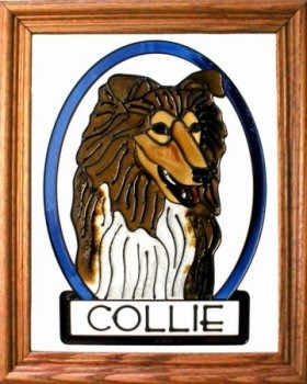 Artistic Gifts Art Glass BW185 Collie Vertical Panel