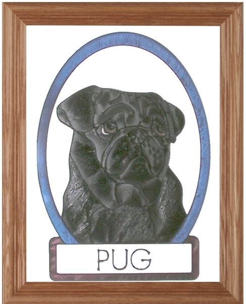 Artistic Gifts Art Glass BW188B Black Pug Vertical Panel Glass Made in the USA $55.99