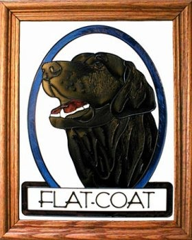 Artistic Gifts Art Glass BW189 Flat Coat Retriever Vertical Panel